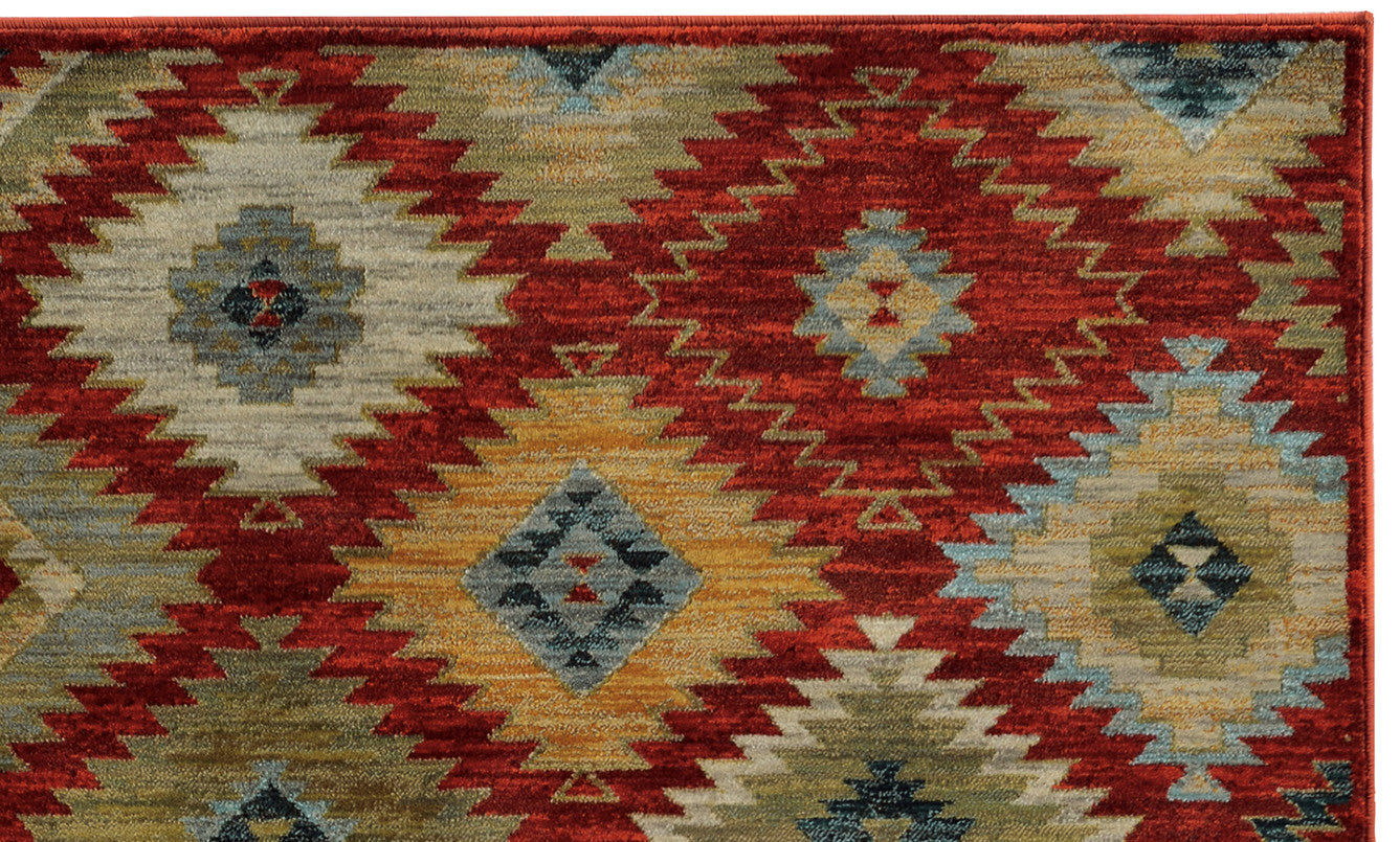 Great Red Santa Fe New Mexico Pattern Rug