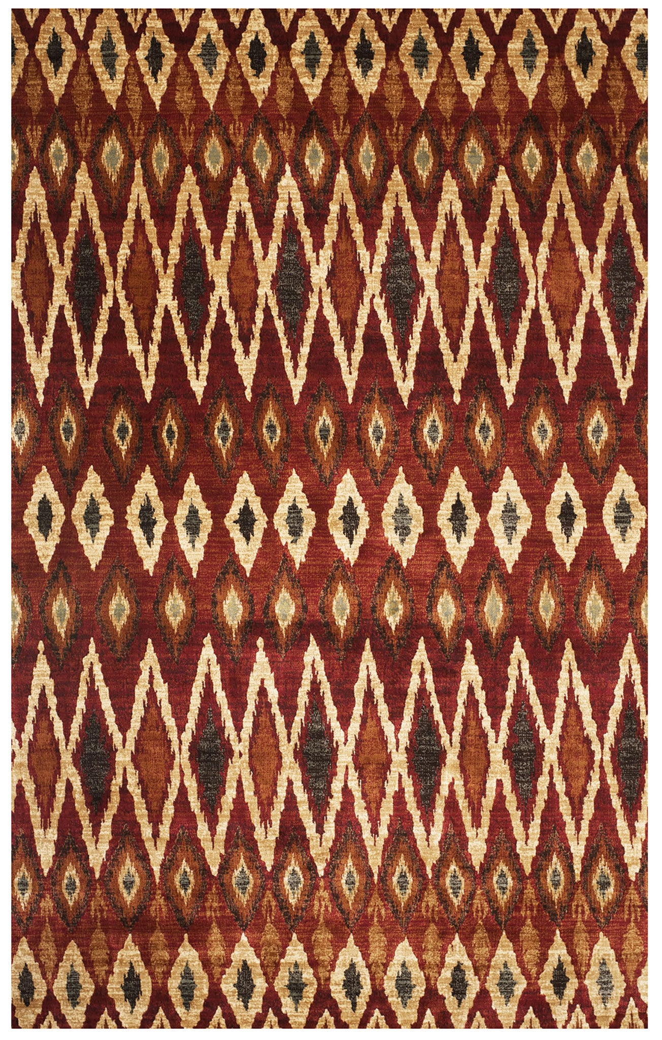 Design Retro Rug red and cream ikat diamond pattern rug woodwaves rug