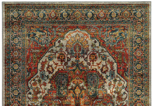 Red Orange and Teal Blue Turkish Style Rug
