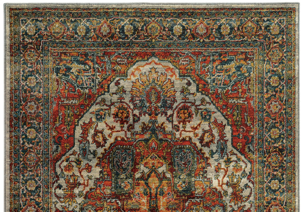 Red Orange And Teal Blue Turkish Style Rug Woodwaves