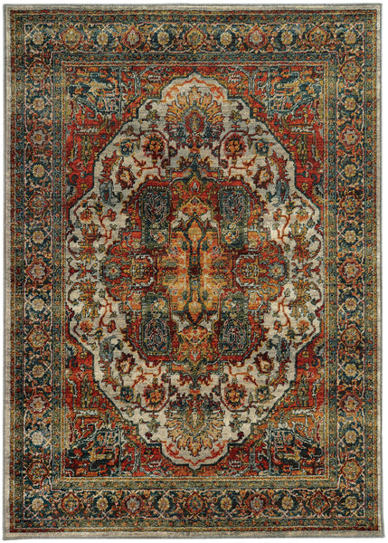 Red And Teal Turkish Style Rug