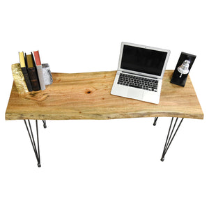 Retro Live Edge Wood Slab Desk