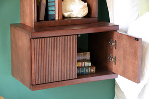 Floating Wall Mount Nightstand With Bookcase - Curve - Mocha