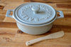 Round Gray Stoneware Fromage Brie Cheese Baker With Wood Spreader