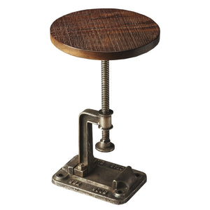 Round Industrial Modern Iron and Wood Adjustable End Table