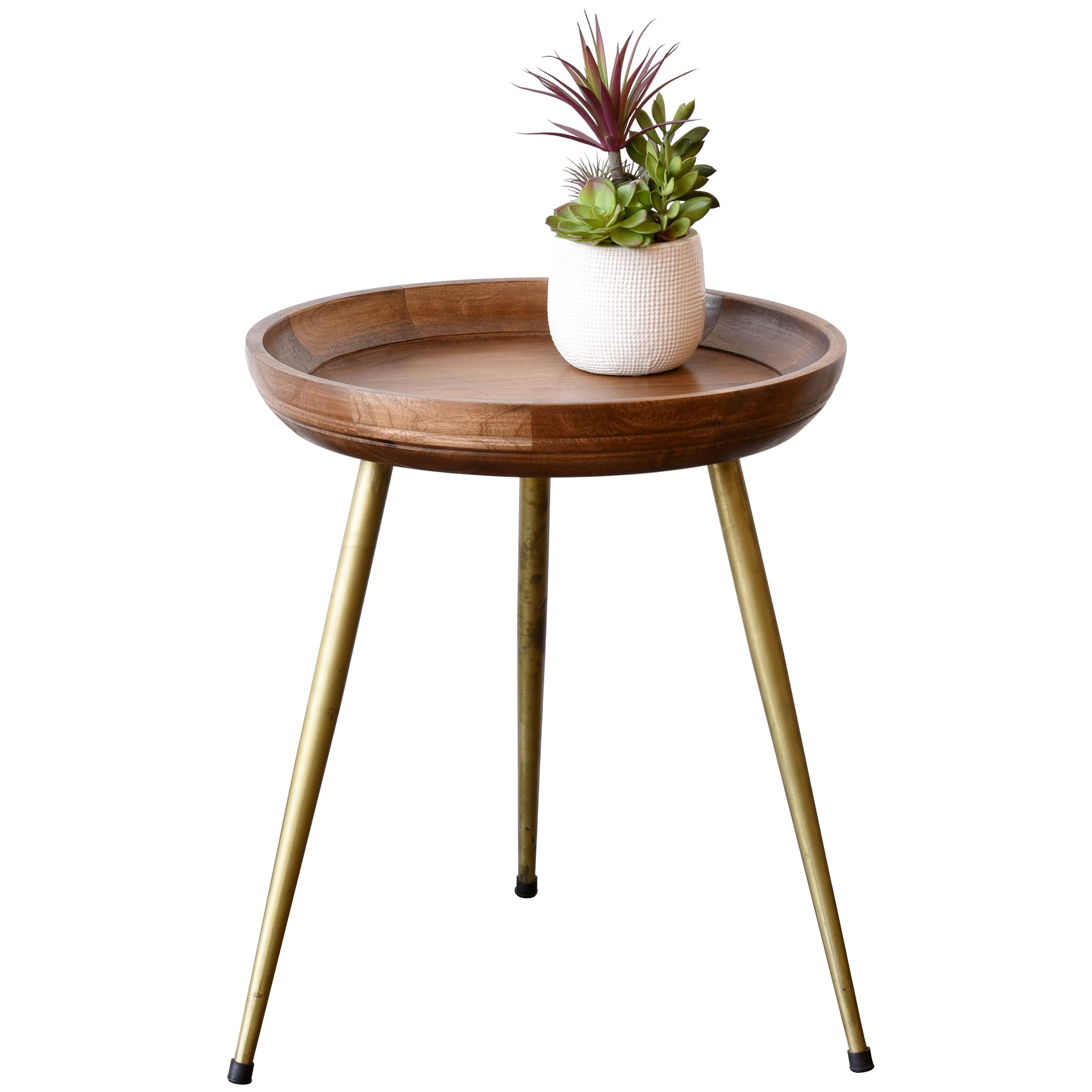 Round Mid Century Modern Retro Wood End Table With Brass Gold Legs