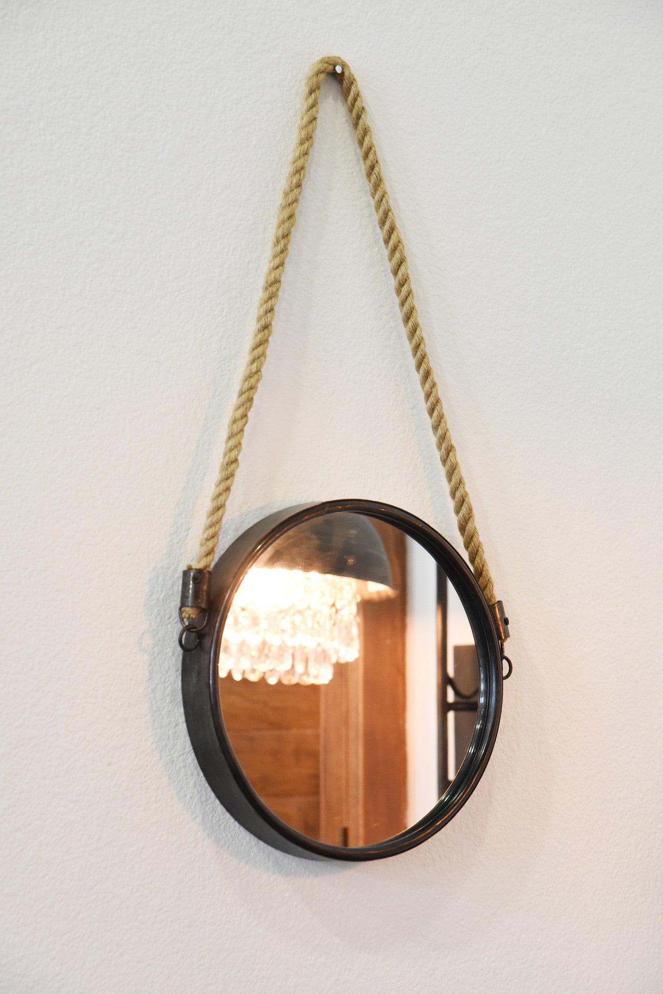 Round Metal Mirror With Rope Part - 47: Round Nautical Hanging Mirrors With Rope
