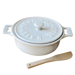 Round White Stoneware Fromage Brie Cheese Baker With Wood Spreader