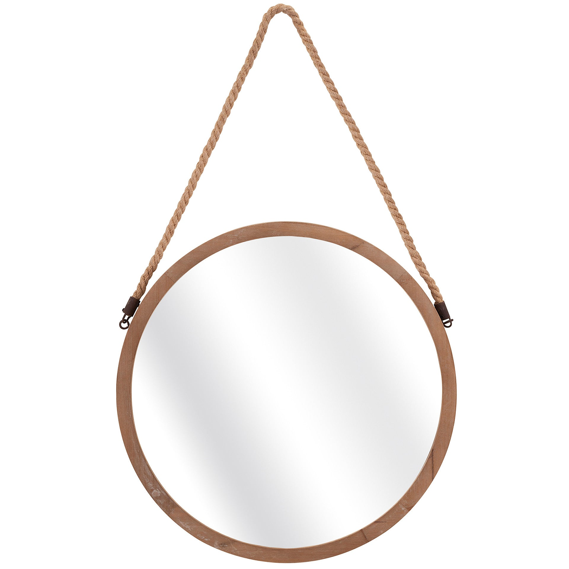 Round Wood Coastal Mirror With Rope