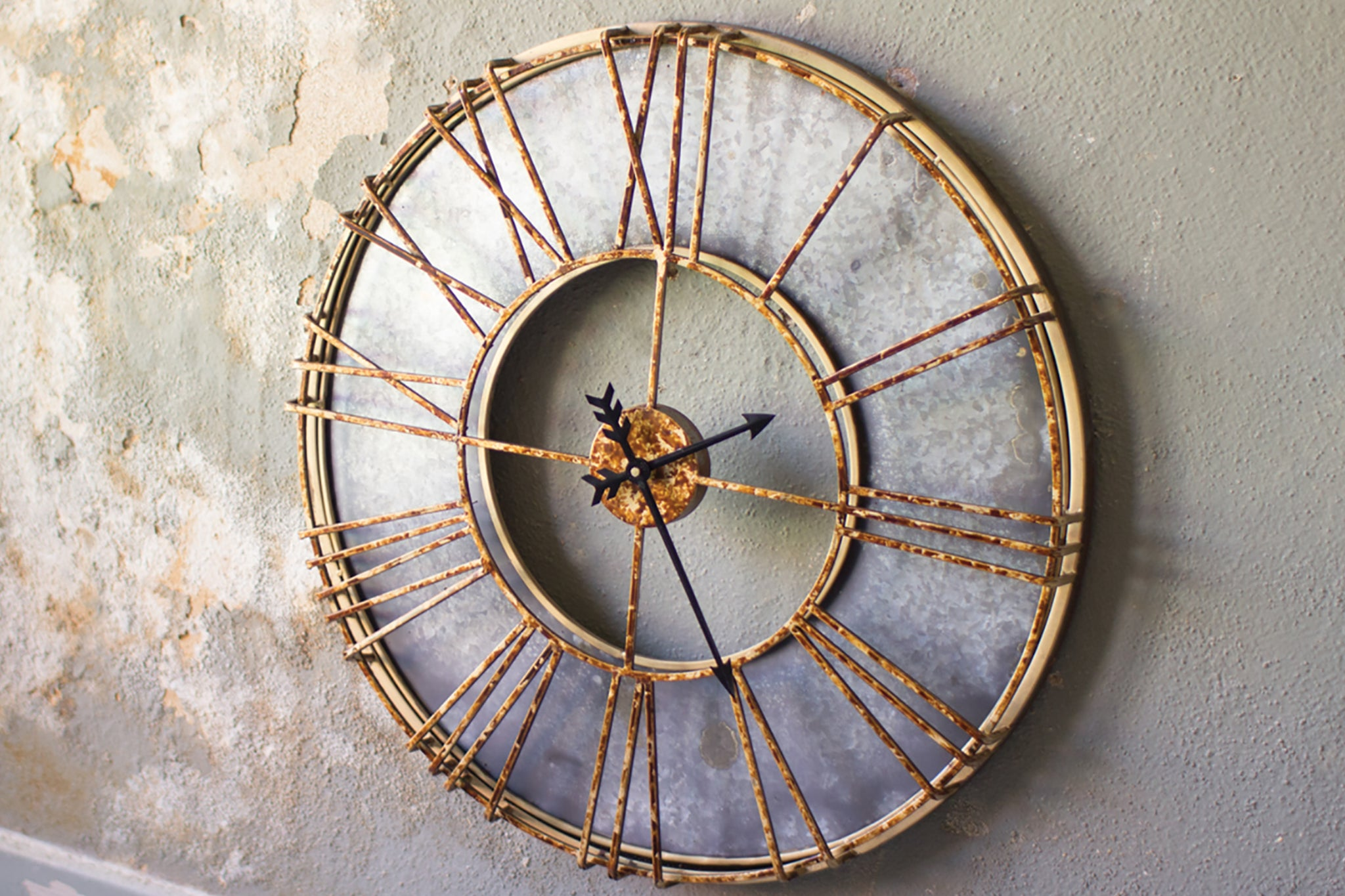 rusted rustic modern roman numeral wall clock woodwaves