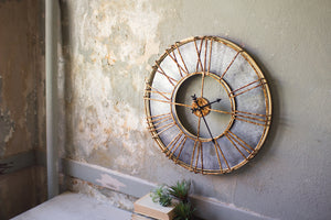 Rusted Rustic Modern Roman Numeral Wall Clock