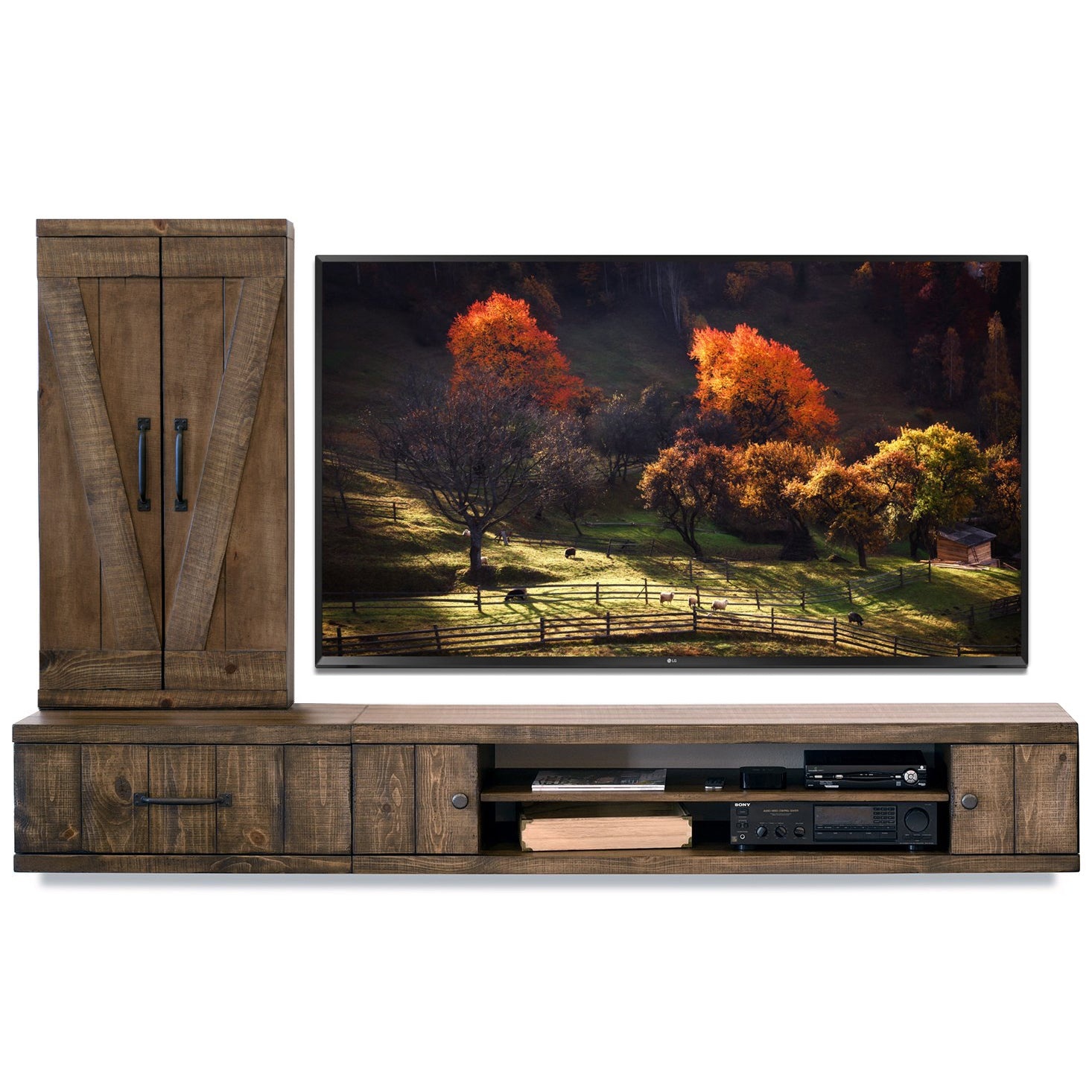 Wall Mount Entertainment Center Rustic Floating TV Stand With Bookcase - Farmhouse - Spice