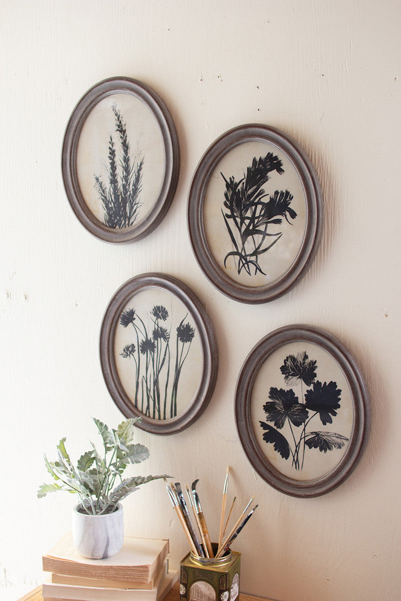 Rustic Framed Botanic Plant Wall - Set of 4