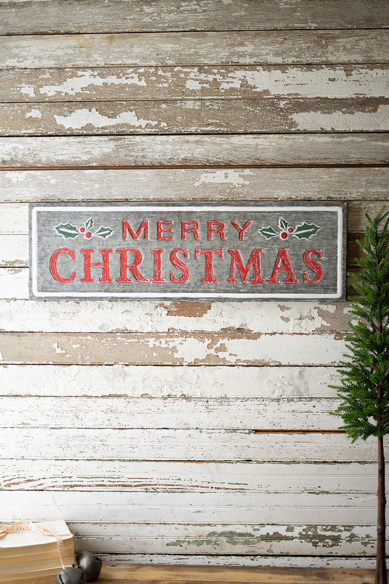 Rustic Metal Merry Christmas Sign