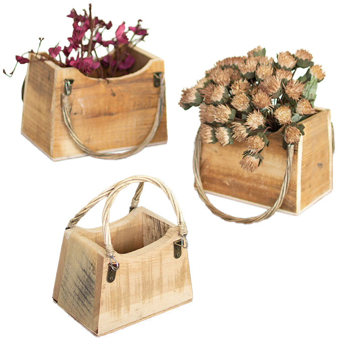 Rustic Recycled Wood Handbag Planters - Set of 3