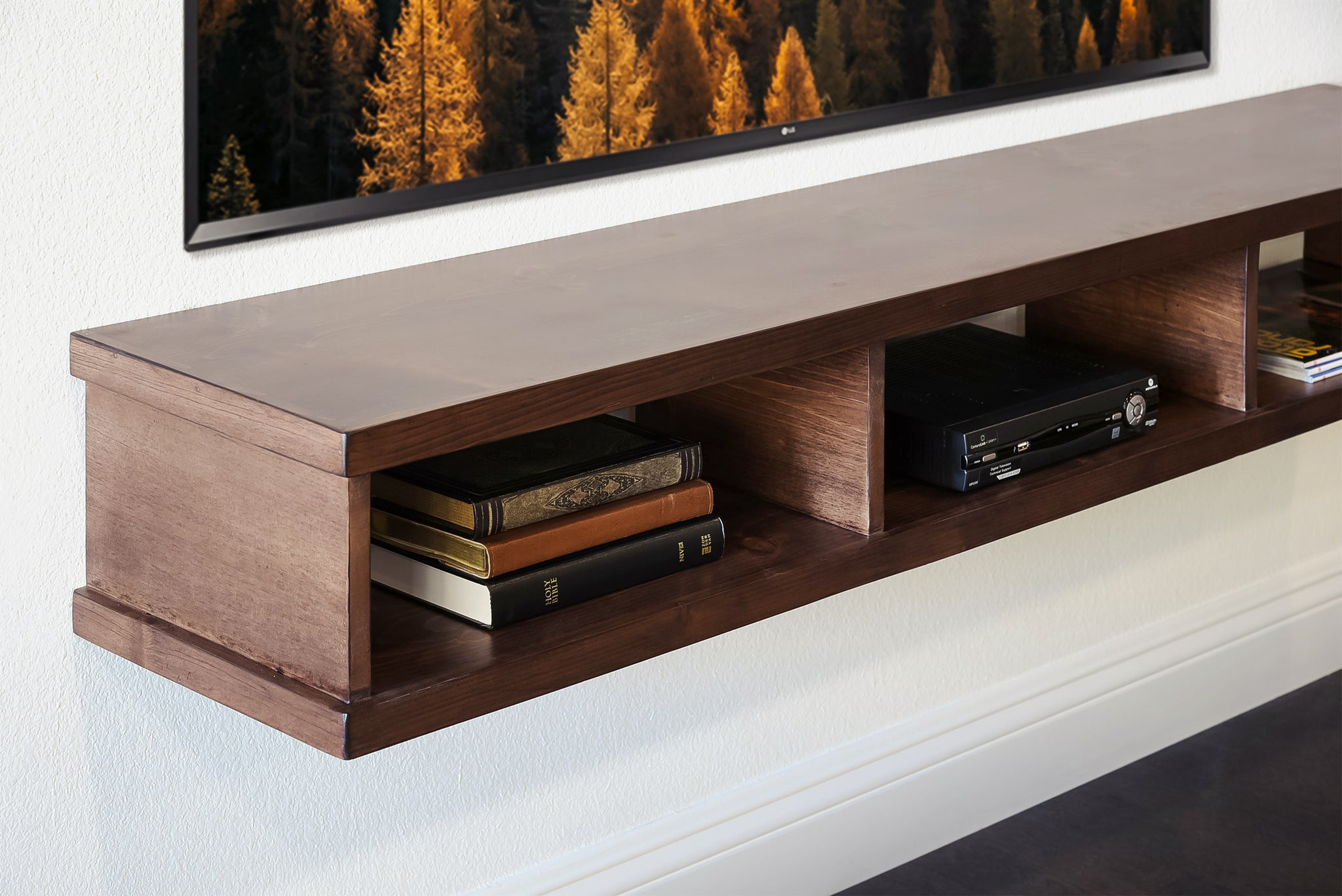 Rustic Solid Wood Floating TV Stand Wall Mount Console - Walnut - Monterey