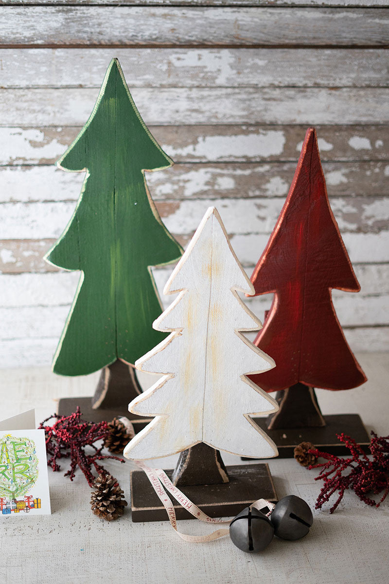Rustic Wood Christmas Trees - Set of 3