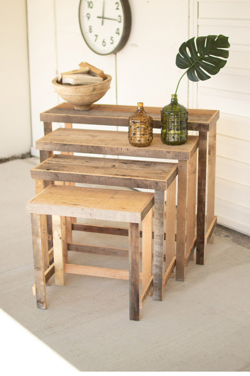 Rustic Recycled Wood Nesting Console Tables-  Set of 4