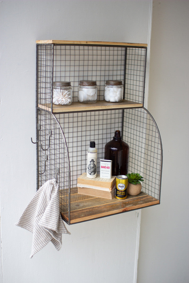 Rustic Recycled Wood Shelf and Wall Bar