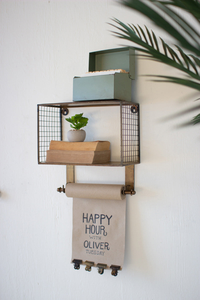 Rustic Wire Shelf with Note Roll