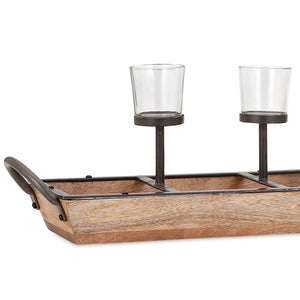 Rustic Farmhouse 5 Candle Wood Base Candleholder