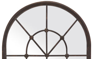 Rustic Metal Arched Window Style Mirror