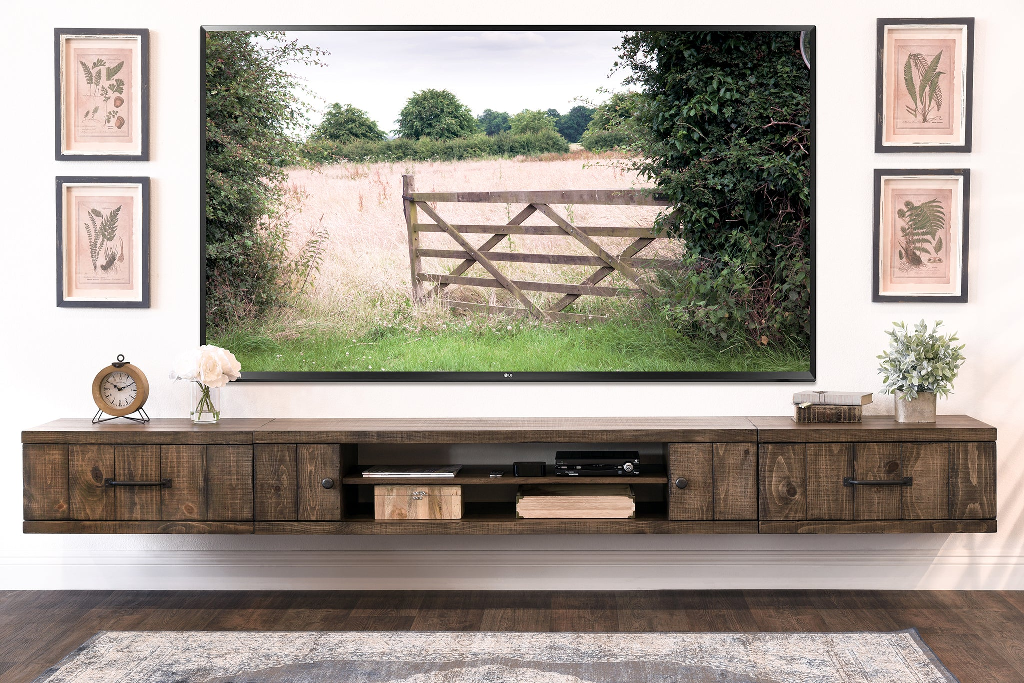 farmhouse rustic wood floating tv stand entertainment center spice woodwaves. Black Bedroom Furniture Sets. Home Design Ideas