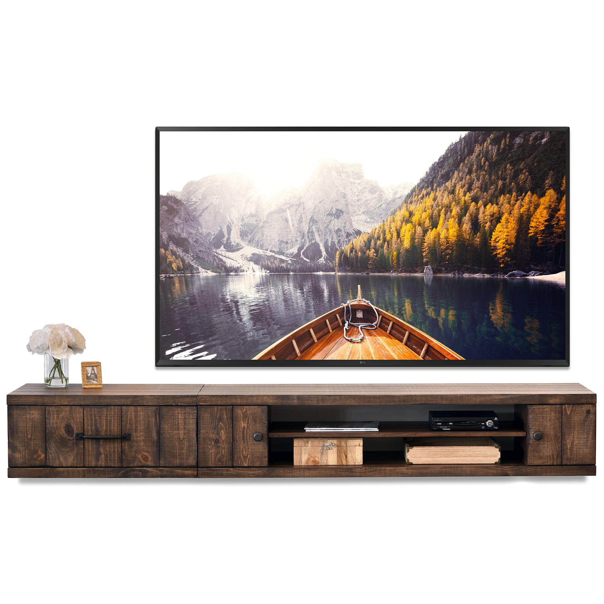 Rustic Barn Wood Style Floating Tv Stand Wall Mount Entertainment