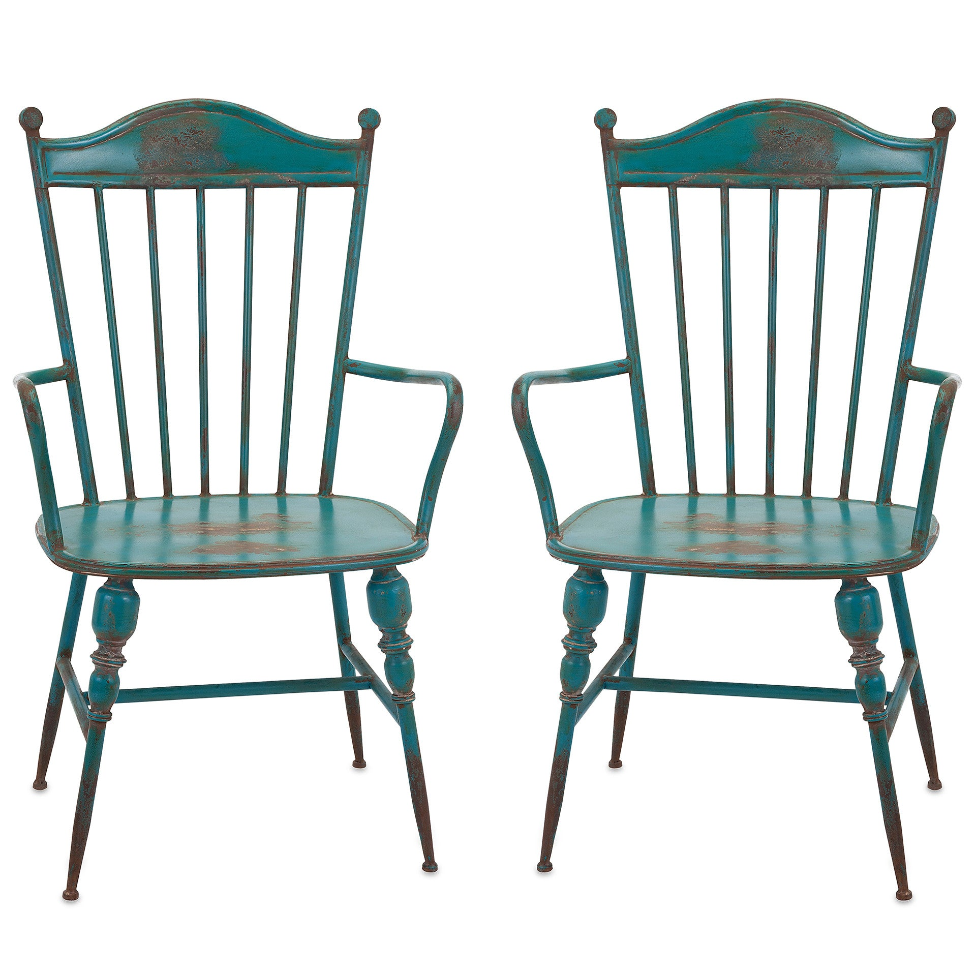 Rustic Teal Blue Metal Farmhouse Industrial Modern Arm Chairs   Set Of 2