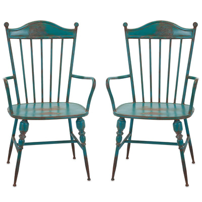 Rustic Teal Blue Metal Farmhouse Industrial Modern Arm Chairs - Set of 2  sc 1 st  Woodwaves & Rustic Teal Blue Metal Farmhouse Industrial Modern Arm Chairs - Set ...