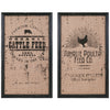 Rustic Farmhouse Feed Sack Style Wall Art Prints - Set of 2