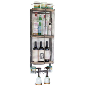 Floating Wall Mount Industrial Modern Cage Wine Bar Liquor Cabinet Shelf