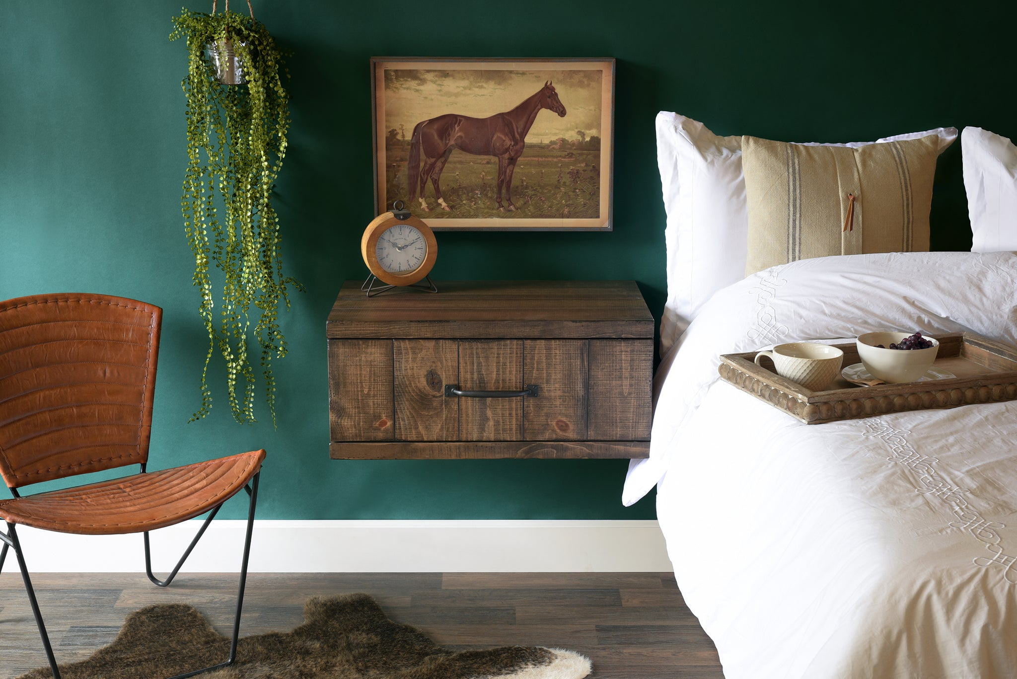 Wall Mounted Nightstand Farmhouse Floating Drawer Spice