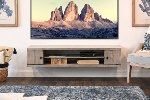 Rustic Gray Beach House Floating Tv Stand Farmhouse