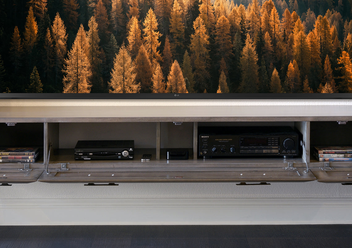 Gray Modern Floating TV Stand Console With Stone - Jupiter - Greystone