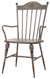 Rustic Gray Metal Farmhouse Industrial Modern Arm Chairs - Set of 2