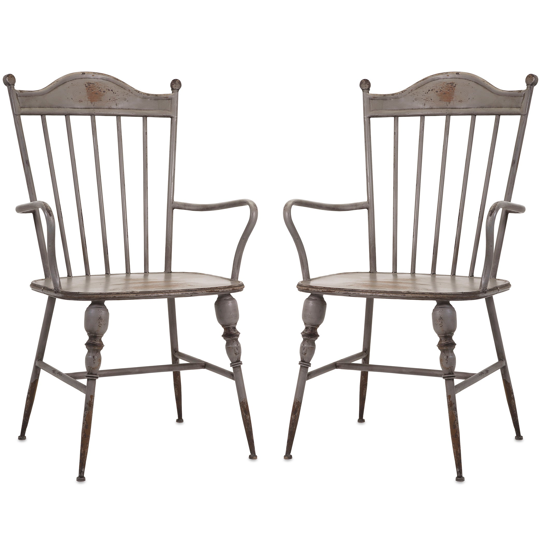 Modern arm chairs - Rustic Gray Metal Farmhouse Industrial Modern Arm Chairs Set Of 2