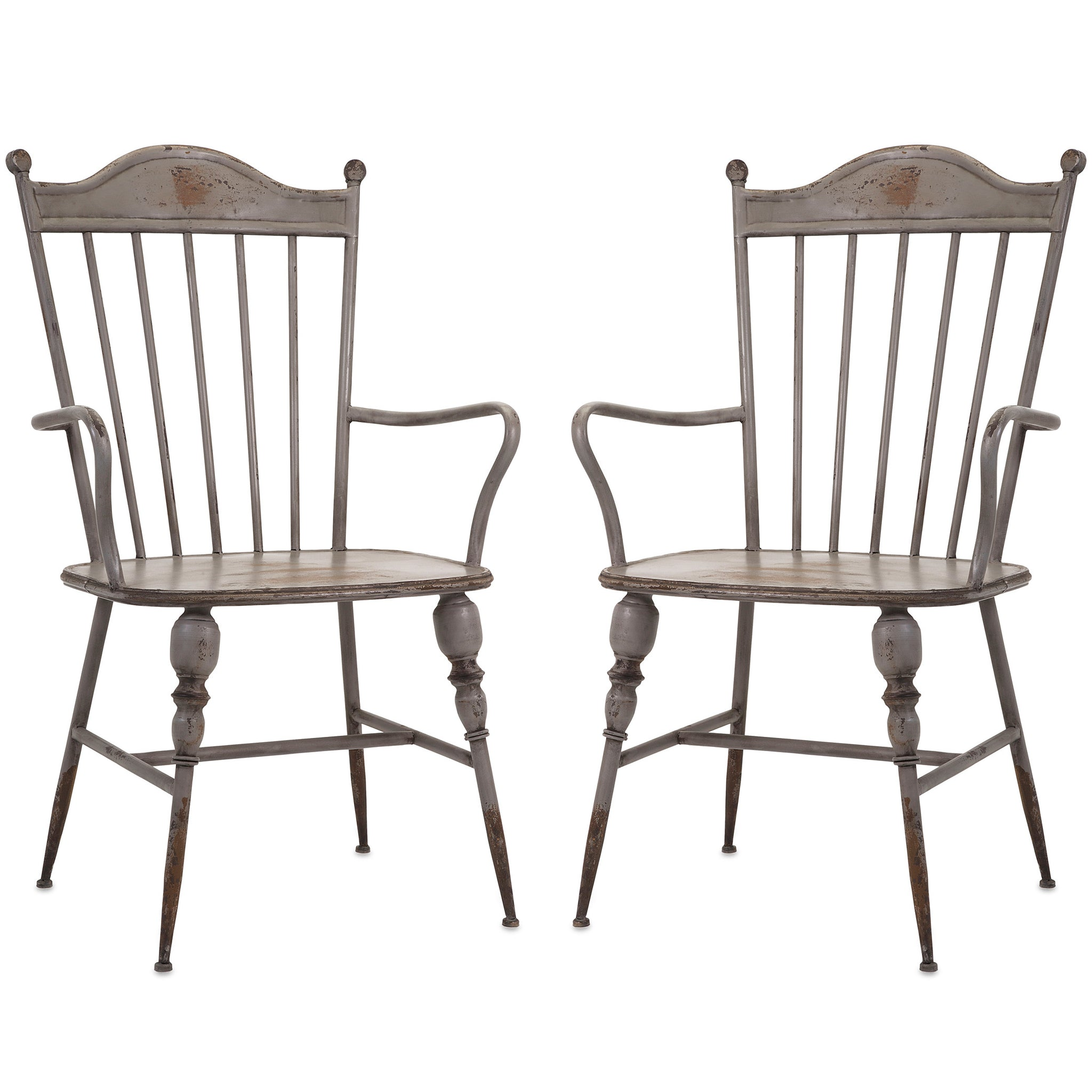 Rustic Gray Metal Farmhouse Industrial Modern Arm Chairs   Set Of 2