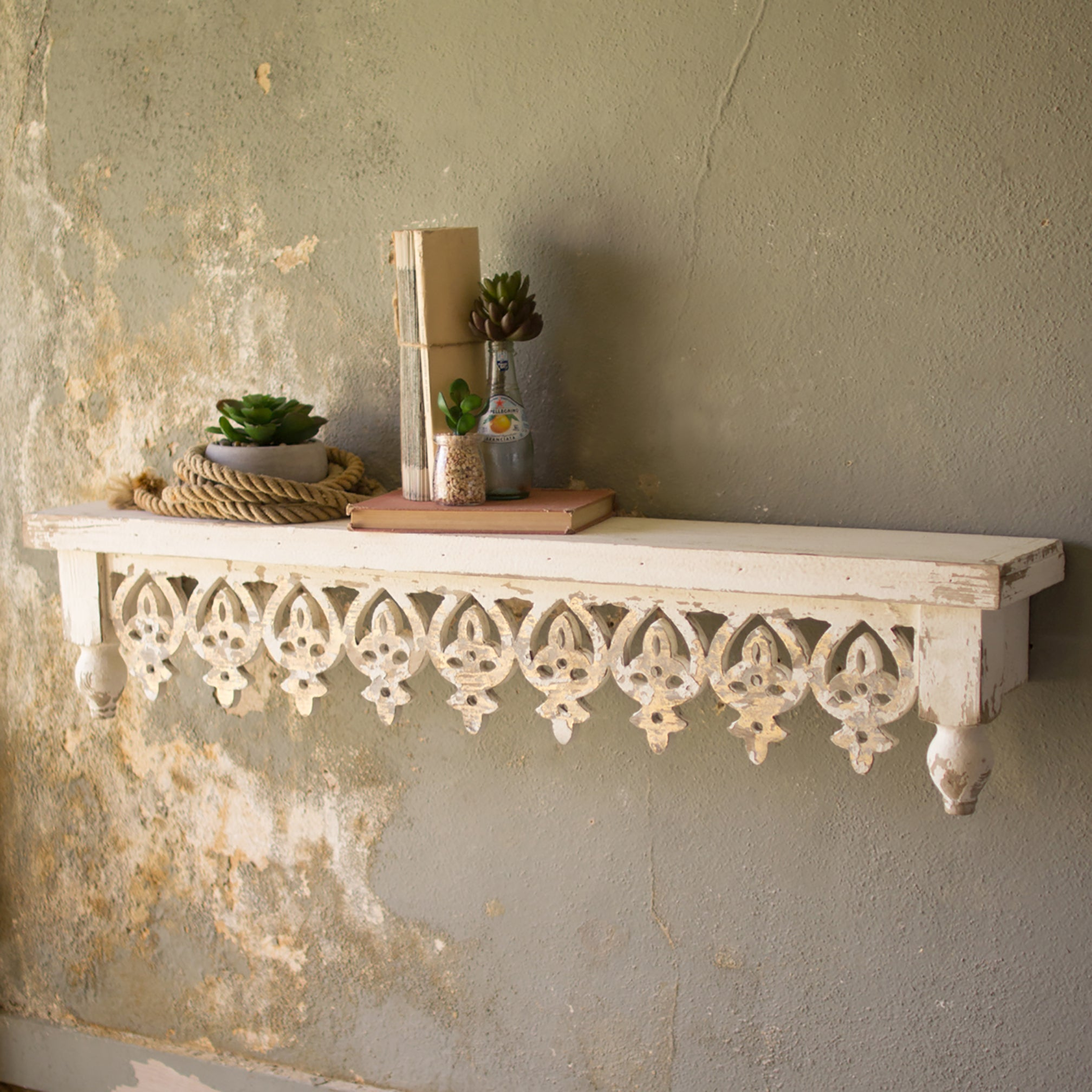 Rustic Hand Carved Floating Wood Wall Shelf