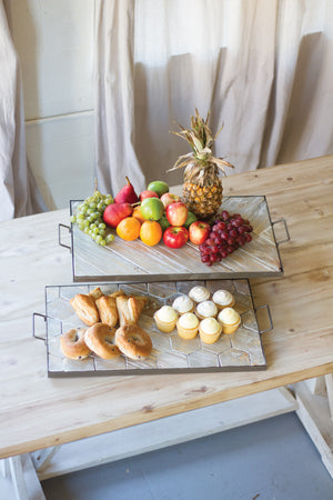Rustic Herringbone Pattern Wood and Metal Serving Tray