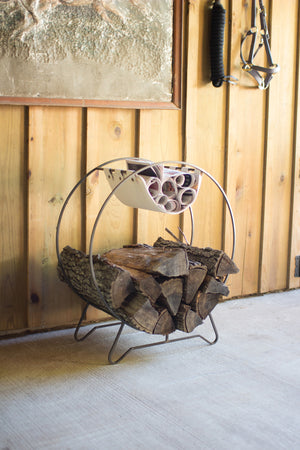 Rustic Industrial Modern Round Log Holder Rack