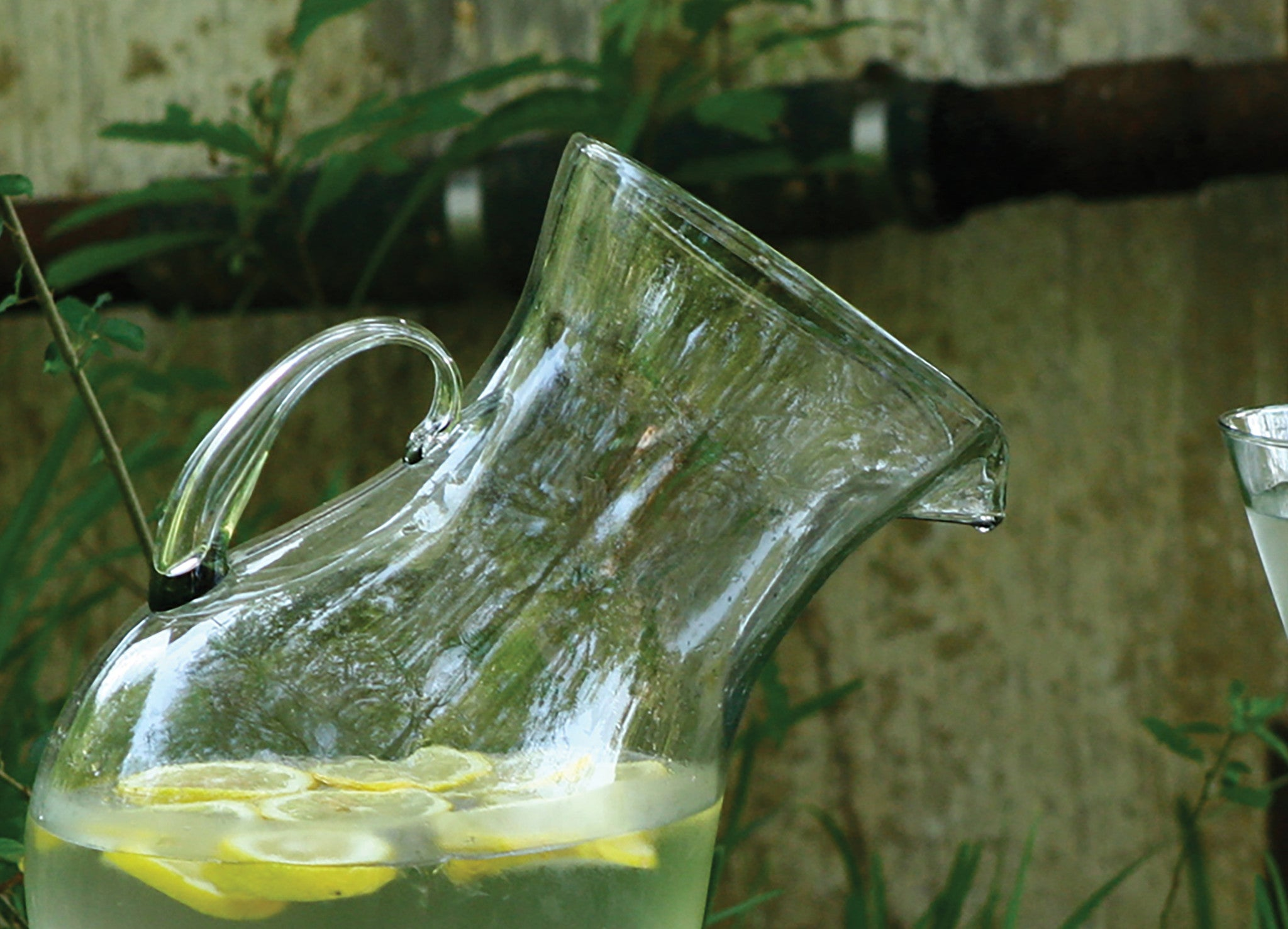 Large Modern Tilted Glass Beverage Pitcher