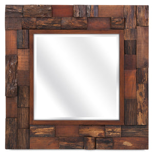 Rustic Lodge Style Wood Slat Mirror