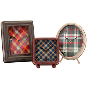 Log Cabin Lakehouse Plaid Tabletop Shelf Clocks - Set of 3
