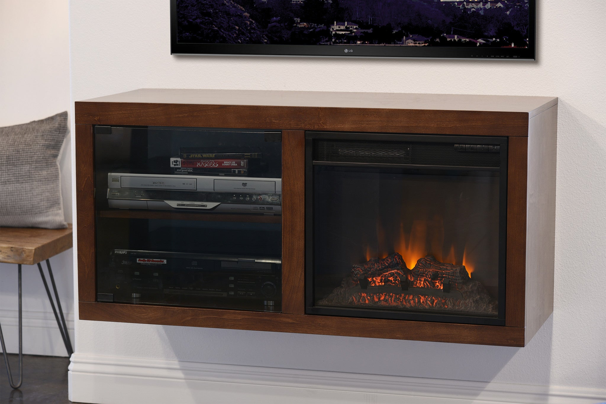 floating electric fireplace tv stand eco geo mocha woodwaves