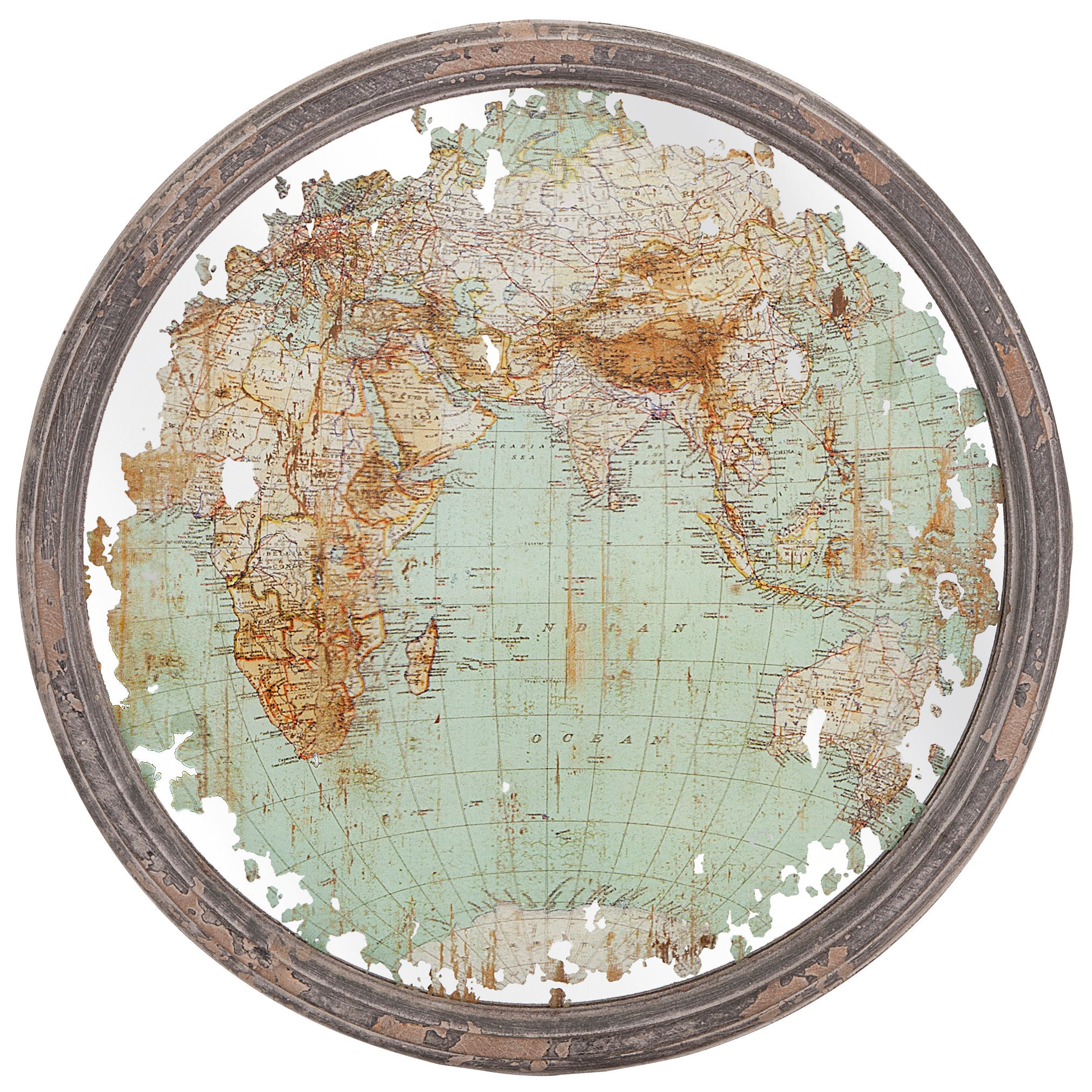 Rustic Mirror Map Industrial Modern Wall Art - Set of 3