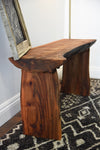 Rustic Log Bench Live Edge Slab Coffee Table