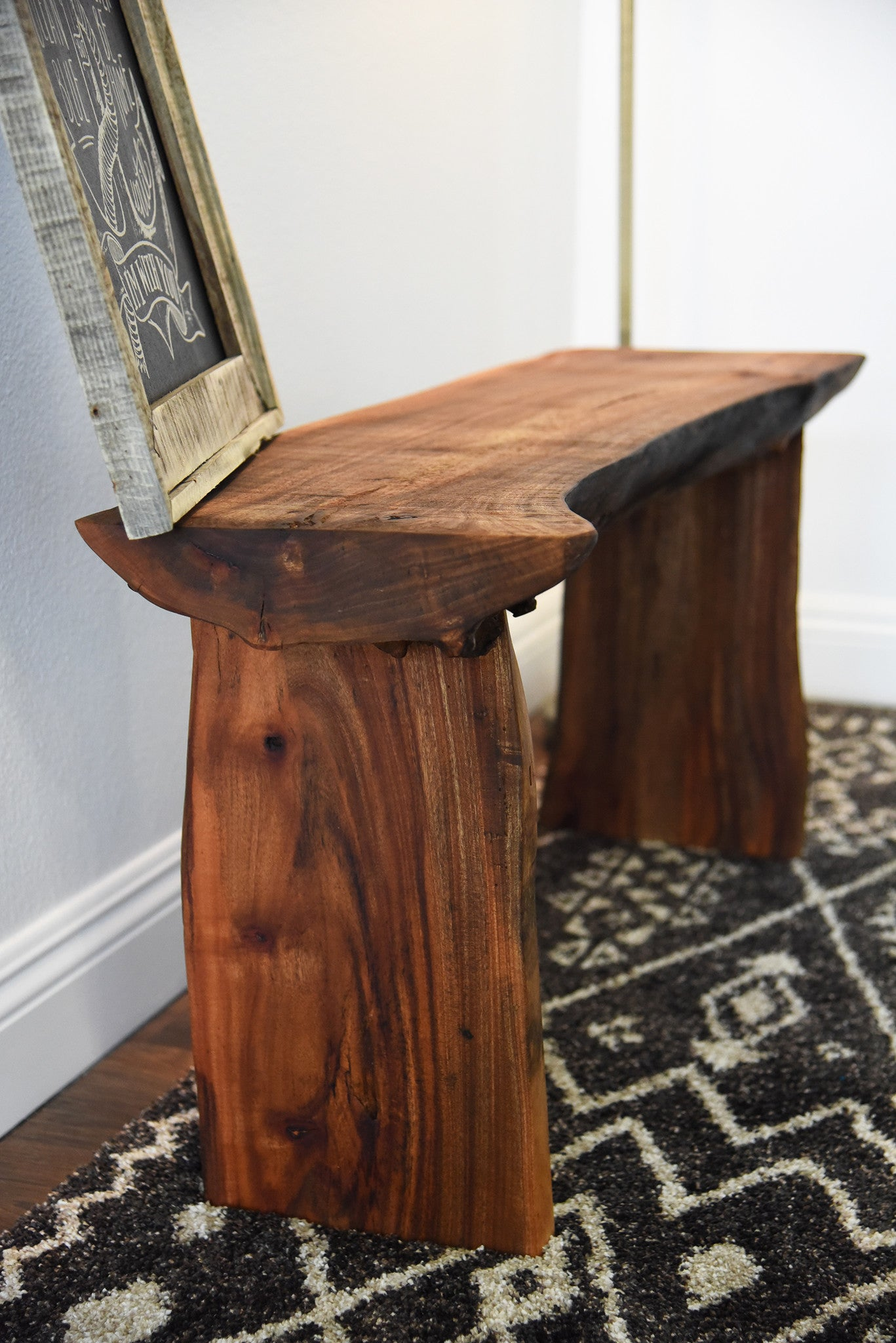 Modern log bench - Rustic Log Bench Live Edge Slab Coffee Table
