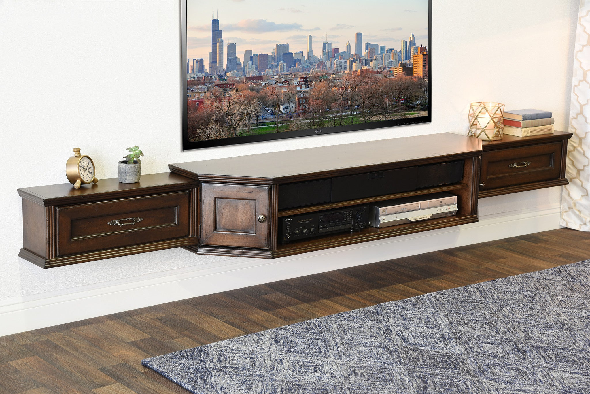Coastal Transitional Floating Entertainment Tv Media Stand