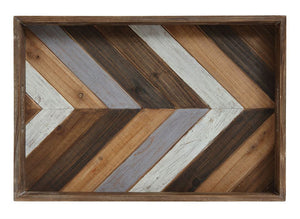 Rustic Modern Wood Chevron Pattern Serving Tray
